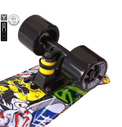 "401G-С Скейтборд Y-SCOO Fishskateboard Print 22"" винил 56,6х15 с сумкой Cartoon"