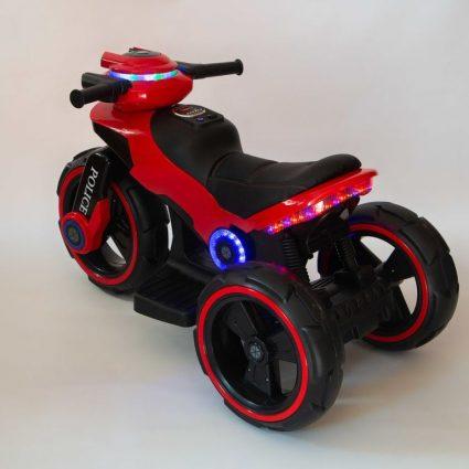 Электромотоцикл Y-Maxi YM 198 Police красный (кресло кожа, амортизация, подсветка, музыка, скорость 6-7 км\ч)
